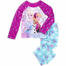 New Girls Disney Frozen Elsa Anna 2 PC Pajama Set Pants Top SZ 6/6X 7/8 10/12