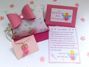Personalised Tooth Fairy Letter, Necklace, Gift Box, Tooth Fairy Gift, Pink
