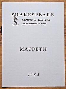 Macbeth programme Shakespeare Memorial Theatre 1952 Ralph Richardson