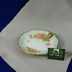 Trinket Nut Candy Dish Hand Painted Gold Loop Handle