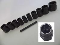 "11pc 3/8"" DRIVE TWIST SOCKET SET LOCKING WHEEL BOLT NUT REMOVER ROUNDED 9- 19mm"