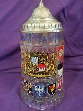 Busch Gardens Williamsburg Va Glass Beer Stein W/ Pewter Lid from W.Germany