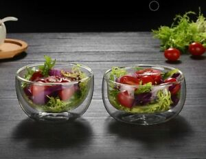250/300ml Heat-Resisting Double Wall Bowls 11.3x6.2cm Glass Containers Tableware