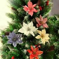 10Pcs Artificial Hollow Glitter Christmas Flower Xmas Tree Wedding Party Decor