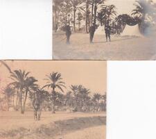 A7158) LIBIA, BENGASI, DICEMBRE 1911, ATTENDAMENTI NELL'OASI, LOTTO DI 2 FOTO.