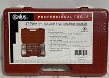 Genius Tools Professional Tools.47 Piece 3/8 Drive Metric & Sae Deep Hand Socket
