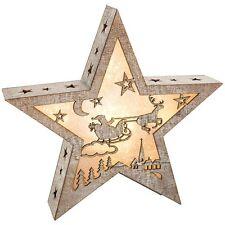 Estrella De Navidad Led Luz De Noche Caja Madera Santa Trineo 28 Cm Hogar Decoración NUEVO