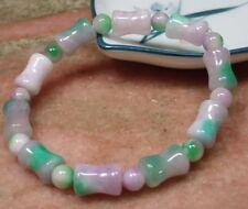 CHINESE green lavender JADE Bead Beads Bamboo Bangle Bracelet 297558