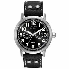 Citizen Eco-Drive Men's AO9030-21E Avion Black Leather Strap 43mm Watch