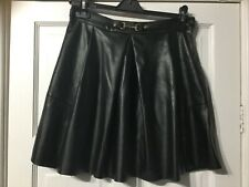 gorgeous Stradivarious black leather look pleated skirt size 38/ 10
