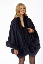 Fox Trimmed Cashmere Cape Women Navy - Your Lady