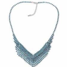 Blue Crystal  Fringe Bib Necklace  Crystal