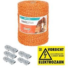 1000m Robuste Weidezaunlitze 3x0,20 Niro gelb-orange + Verbinder und Warnschild
