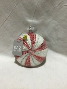 Raz Imports Iced Peppermint Disc Ornament