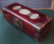 Chinese Mahogany jewellery box with light green stones/green silk fabric inside