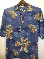 Campia Moda Mens Shirt Sz L Blue Floral Hawaiian Short Sleeve 100% Rayon Rare