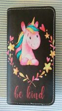 """Adorable Ladies Unicorn Wallet-Black & Many Other Colors-Words-""""Be Kind""""-Cute"""