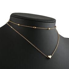 Women Simple Double Layers Chain Heart Pendant Necklace Choker Fashion Jewelry