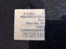N.I.R. Lisburn Excursion Ticket Apprentice Boys of Derry Railways Londonderry