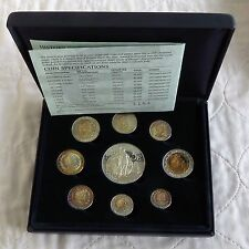 2002 UNITED KINGDOM SILVER PROOF PATTERN 9 COIN SET - boxed/coa