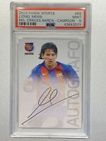 💥🐐LIONEL MESSI 2004 PANINI SPORTS MEGA CRACKS BARCA ROOKIE RC # 89 PSA 9📈