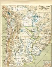 Karte ARGENTINIEN / CHILE / URUGUAY / BOLIVIEN 1885 Original-Graphik