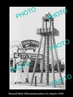 OLD POSTCARD SIZE PHOTO OF PENNZOIL MOTOR OIL PROMOTION OIL WELL c1930