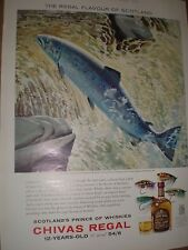 Chivas Regal Whisky Keith Shackleton salmon art advert 1963 ref AY