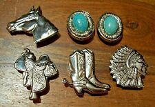 Old vintage Western Theme Silver plated Button Covers