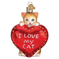 Old World Christmas I LOVE MY CAT HEART (30051)X Glass Ornament w/ OWC Box