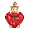 """I Love My Cat Heart"" (30051)X Old World Christmas Glass Ornament w/OWC Box"