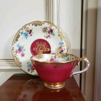 EXC~Paragon HM The Queen Mary Bone China MAGENTA GOLD &FLORAL Tea Cup Saucer