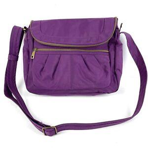 Travelon Crossbody Bag Anti Theft Signature Flap Compartment Purple Purse