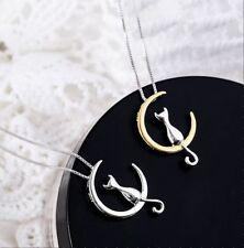 Katzen-Mond Halskette Anhänger Silber-Goldfarben Frau Mädchen