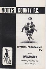 NOTTS COUNTY v DARLINGTON ~ 19 APRIL 1969 ~  FOOTBALL PROGRAMME
