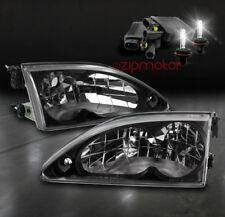 94-98 Ford Mustang Crystal Diamond Black Headlight Lamp W/6000K Hid Kit 95 96 97