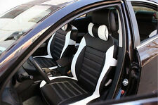 Black&White Synthetic PU leather Car Seat Cover Needlework For all 5 seat car