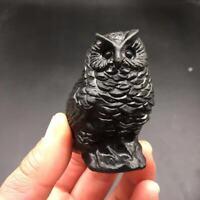 Natural Obsidian Crystal Quartz Carved Owl Healing Decoration 1PC
