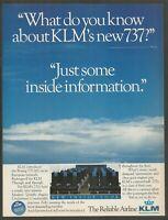 KLM Royal Dutch Airlines - Inside Information - 1986 Vintage Print Ad