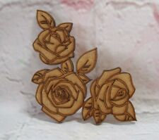 Roses MDF Valentines Day Craft blank Shape pack of 5