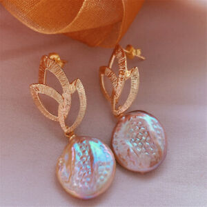 Multi-Color baroque pearl earrings with 18KGP Holiday gifts Jewelry Cultured