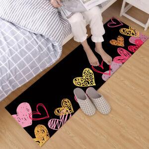 Black Background Colorful Hearts Design Area Rugs Bedroom Living Room Floor Mat