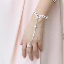 Phenovo Bracelet avec Bague en Perles et Strass Bijou Parure de Main-Argent