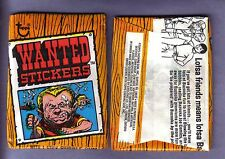 Vintage 1974 Topps WANTED STICKERS Wax Pack (x1) from Original Box RARE!