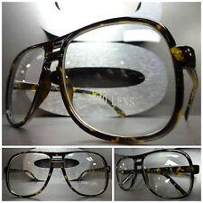 Mens or Women OVERSIZE VINTAGE RETRO Style Clear Lens EYE GLASSES Tortoise Frame