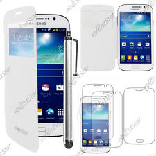 Housse Coque Etui  Flip Cover Blanc Samsung Galaxy Grand 2 + Stylet + 3 Films