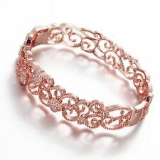 18k 18ct Elegant Rose Gold Filled Solid Filigree Flora Bangles Woman BN-A283