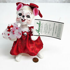 "'09 ANNALEE 6"" SWEETHEART GIRL MOUSE White Red Rose Flowers Dress MOBILITY DOLL"