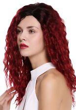 Peluca de Mujer Raya al lado Afro Krepplocken Ombre Negro Rojo Granate Rojo