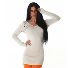 Sexy Strickkleid Minikleid Pullover Longpulli mit Strass, S/M 34/36/38/40